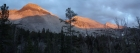 Panorama of Calkens Peak, WCP-9, and David O. Lee Peak during the sunset.