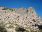 The boulder hopping section on the east face of Hatchet Peak.