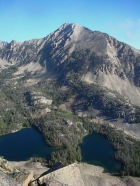 Cardiac Peak from Hatchet Peak, rising above Lodgepole Lake and Sliderock Lake.