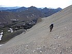 Crossing the scree field to reach the saddle between WCP-9 and DO Lee Peak.