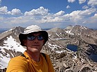 Me on the summit of Peak 11272', with the Big Boulder Lakes in the background.