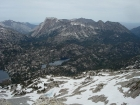 View of the south end of the Hurwal Divide (Matterhorn & Sacajawea Peak) from the Eagle Cap. Moccasin Lake below.