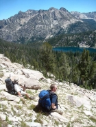 Bill and Ken taking a breather above Alpine Lake.