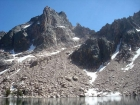 View of Packrat Peak from Little Warbonnet Lake.