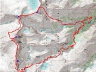 Map of our route. Covering 17.5 miles and 8700 feet of elevation gain.