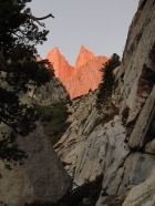 Sunrise on Mount Whitney and Keeler Needle as seen from the top of the Ebersbacher Ledges.