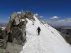 Descending the summit ridge on Gannett Peak.
