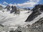 View back across the Dinwoody Glacier of Bonny Pass.