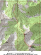 Map of the Shephard and Silver route, about 5.2 miles and 1900' gain round trip.