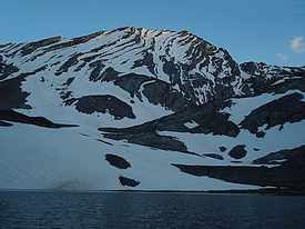 Evening view of the north face of Mount Church above Lake 9682'.
