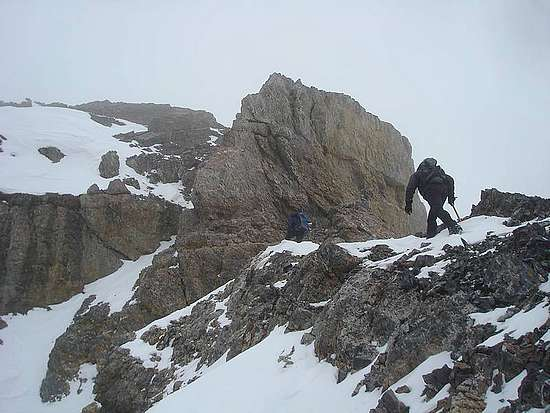 Nearing the chimney section on the northwest ridge of Bad Rock Peak.