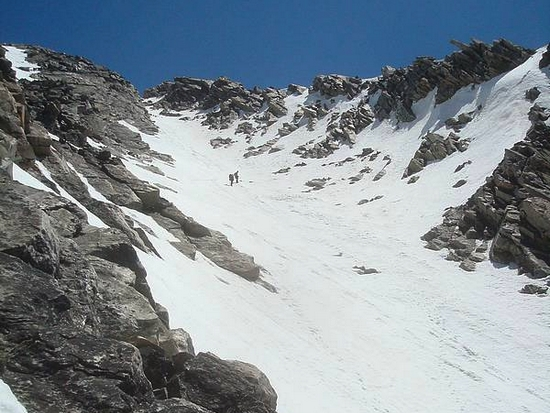 Climbing the Comma Couloir on Cobb Peak.