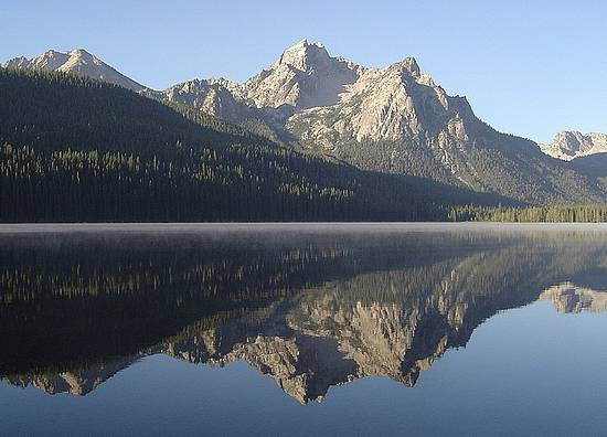 Morning view of McGown Peak from Stanley Lake.