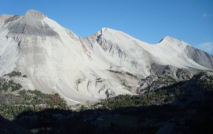 Caulkens Peak, WCP-9, and David O Lee Peak from the Iron Basin saddle