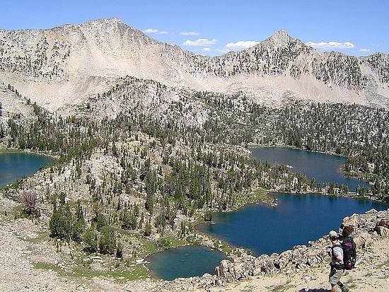 The Upper Boulder Chain of Lakes from Windy Devil Pass.